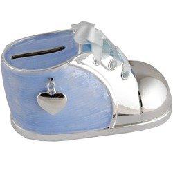 473-3135 Skarbonka dziecięca z masy perłowej - niebieski bucik z serduszkiem
