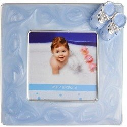 473-3208 Ramka dziecięca z masy perłowej - niebieska, buciki