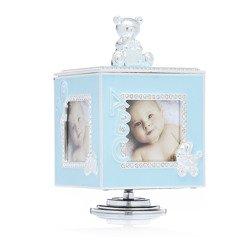 473-3272 Pudełko z masy perłowej na zdjęcia- niebieskie, pozytywka