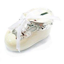 473-3285 Skarbonka dziecięca z masy perłowej - beżowa, bucik