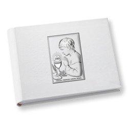 Album z obrazkiem srebrnym Pamiątka I Komunii dla chłopca DS0704O