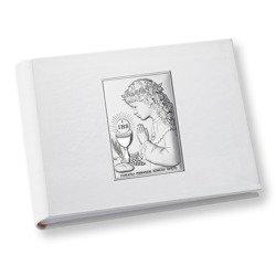 Album z obrazkiem srebrnym Pamiątka I Komunii dla dziewczynki DS0704A