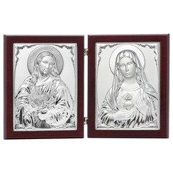 Dyptyk srebrny Serce Jezusa z Niepokalanym Sercem Maryi 31306DPT
