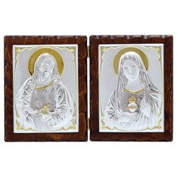 Dyptyk srebrny Serce Jezusa z Niepokalanym Sercem Maryi 31306LADPTORO