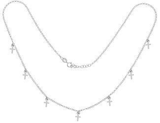 Łańcuszek Celebrytka SREBRNA - kilka elementów 7 KRZYŻYK KRZYŻ choker srebro pr 925 CEL56