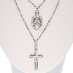 Łańcuszek celebrytka chrześcijańska krzyżyk + medalik. srebro pr 925 CEL48