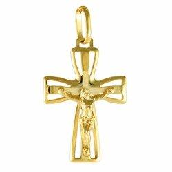 Medalik pozłacany 24k złotem - Krzyż z wizerunkiem Jezusa MBR6/3