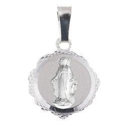 Medalik srebrny diamentowy - Matka Boska NIEPOKALANIE POCZĘTA Niepokalanka MD49