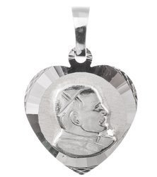 Medalik srebrny diamentowy - Papież Święty Jan Pawł II MD55