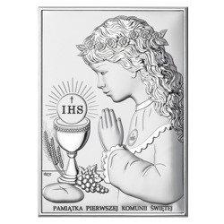 Obrazek Srebrny Pamiątka I Komunii dla dziewczynki prostokąt z podpisem DS04A