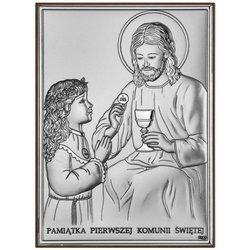 Obrazek Srebrny Pamiątka I Komunii dla dziewczynki prostokąt z podpisem DS45A