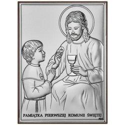 Obrazek Srebrny Pamiątka I Komunii dla dziewczynki prostokąt z podpisem DS45O