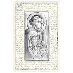 Obrazek Srebrny Święta Rodzina kremowa rama z modlitwą 6380PN