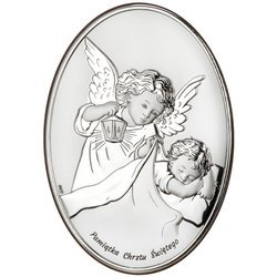 Obrazek na chrzest srebrny Aniołek pamiątka Chrztu Świętego DS27