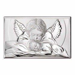 Obrazek srebrny Aniołek nad dzieciątkiem 81288