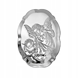 Obrazek srebrny Aniołek z latarenką z podpisem 6298
