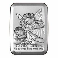 Obrazek srebrny Aniołek z latarenką z podpisem 6441