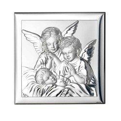 Obrazek srebrny Aniołki nad śpiącym dzieckiem 801
