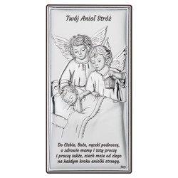 Obrazek srebrny Aniołki z latarenką nad dzieckiem DS22