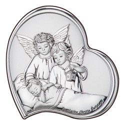 Obrazek srebrny Aniołki z latarenką nad dzieckiem Dono DS23