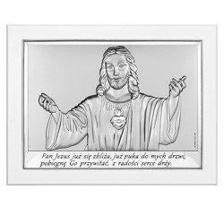 Obrazek srebrny Serce Jezusa Pamiątka Komunii Biała ramka 6621W