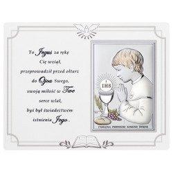 Panel z obrazkiem srebrnym Pamiątka I Komunii dla chłopca DS08041CO