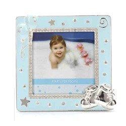 Ramka dziecięca z masy perłowej - niebieska, buciki 473-3325