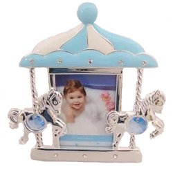 Ramka dziecięca z masy perłowej - niebieska, karuzela z końmi 473-3237