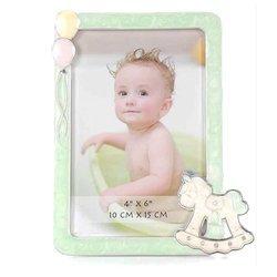 Ramka dziecięca z masy perłowej - niebieska, konik, balony 473-3328