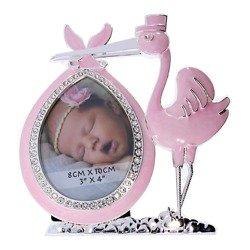 Ramka dziecięca z masy perłowej - różowa, bocian 473-3323