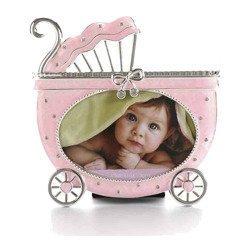 Ramka dziecięca z masy perłowej - różowa, wózek 473-3294