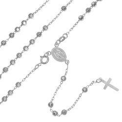 Różaniec srebrny - 5 dziesiątek rodowany diamentowany 12,4 g, 4 mm srebro pr. 925 RC028