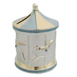 Skarbonka dziecięca z masy perłowej - niebieska, karuzela 473-3143