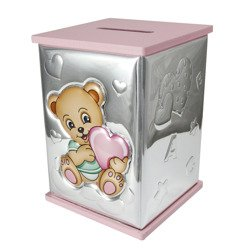 Skarbonka srebrna miś z różowym sercem 21124/RA