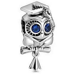 Srebrna przywieszka pr 925 Charms Sowa niebieskie cyrkonie PAN171