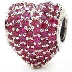 Srebrna przywieszka pr 925 Charms rubinowe serce cyrkonie PAN207