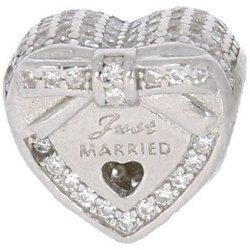 Srebrna przywieszka pr 925 Charms serce z kokardką Just Married PAN015