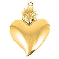 Wotum srebrne Serce gorejące błyszczące pozłacane srebro 925 WOTOZB