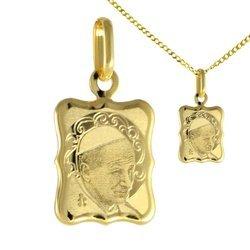 Zestaw Medalik z łańcuszkiem pozłacany 24k złotem - Papież Jan Paweł II MBR11/1 + BROLAN45