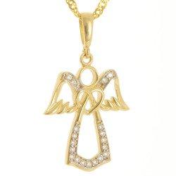 Złota przywieszka pr. 585 aniołek z sercem cyrkonie ZP058