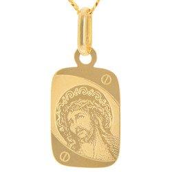 Złoty medalik pr. 585 Jezus prostokąt  ZM073