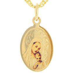Złoty medalik pr. 585 M.B. z dzieciątkiem owal  ZM065