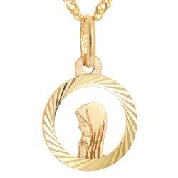 Złoty medalik pr. 585 Madonna koło ażur promienie  ZM070