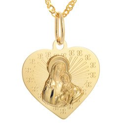 Złoty medalik pr. 585 Madonna z dzieciątkiem  ZM101