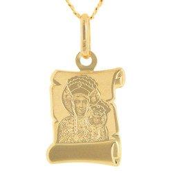 Złoty medalik pr. 585 Matka Boska Częstochowska papirus  ZM083