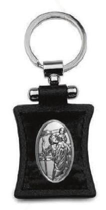 Brelok posrebrzany na skórce Święty Krzysztof Patron Kierowców