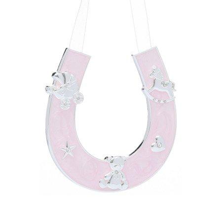 Dekoracyjna podkowa szczęścia - różowa, dla dziewczynki 473-3123