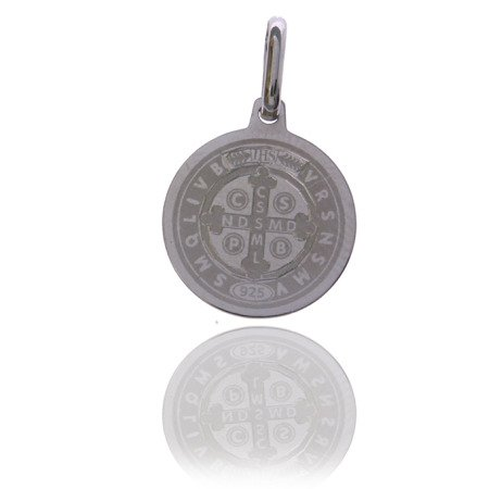 Medalik srebrny (1,5 g) - Święty Benedykt wzór klasyczny IHS MK008