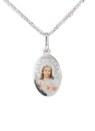 Medalik srebrny (1,7 g) - Matka Boska Szkaplerzna dwustronnie kolorowa  MK038