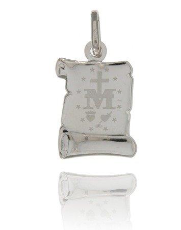 Medalik srebrny (1,8 g) - Matka Boża Niepokalana Cudowny medalik papirus MK015